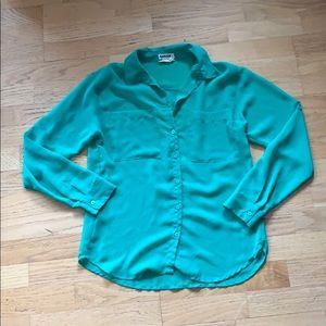 Garage / Green Chiffon Button down top